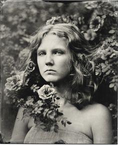 Emily in rose bush Wetplate Collodion Kristen Hatgi Sink