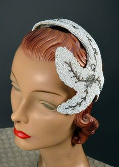 1950s Vintage Beaded Party Cocktail Hat Fascinator Headband Head Piece Evening