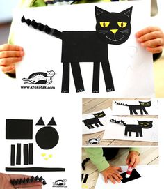 Easy cat collage from geometric shapes | krokotak