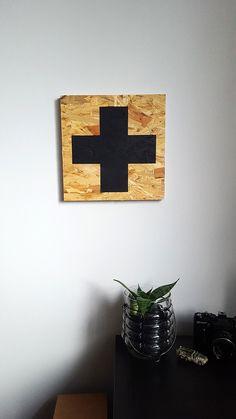 Obraz na płycie OSB -Krzyż 30x30