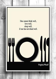 Literary Art, Illustration Art Print, Kitchen Print, Wall Decor, Virginia Woolf Quote, Minimalist Art Poster, Black and White