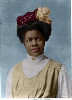 """Educator and suffrage activist Nannie Helen Burroughs 1909. In 1896 helped form the National Association of Colored Women (NACW) to promote political mobilization of Black women and in 1909 founded the National Training School for Women and Girls to prepare students for employment and entrepreneurship. She first gained national recognition in her speech """"How the Sisters Are Hindered from Helping,"""" at the National Baptist Convention in 1900. colorized by D'Lynn"""