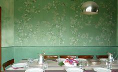 Modern chinoiserie 'Spring Bamboo Garden'design from Misha wallpaper, hand painted on Terra Verde silk.