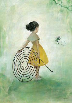 """Até que um dia, por astúcia ou acaso, depois de quase todos os enganos, ela descobriu a porta do labirinto. Nada de ir tateando os muros como um cego. Nada de muros. Seus passos tinham – enfim! – a liberdade de traçar seus próprios labirintos.  Mario Quintana Images for """"Maze"""" by James Jean (2008)"""