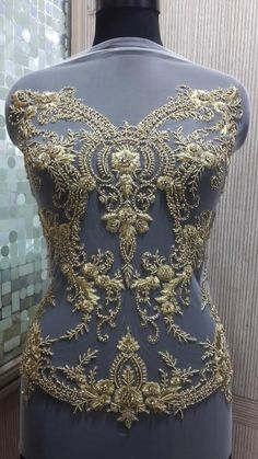 Hand Beaded and Embroidered METALLIC GOLD Bodice by allysonjames