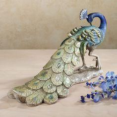 $119 Graceful Peacock at Rest Sculpture