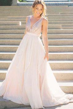 A-Line Deep V-Neck Sweep Train Chiffon Backless Bowknot Prom Dress PG586