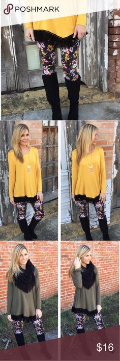 ❄️️Floral Knit Leggings!❄️️ ❄️️Amazing Comfort, Warmth, & Style with these Soft Brushed Floral Knit Leggings! Put a little floral design in your winter! Pairs up nicely with a Tunic like the one I have listed in photo #3! 92% polyester, 8% spandex. One Size (S-L).❄️️ Boutique Pants Leggings