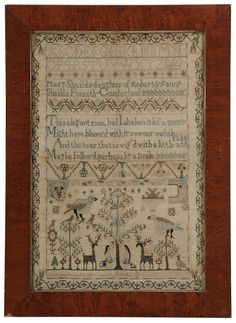 "Fine 1811 Adam and Eve Needlework. ""Mary Shields -daughter of Robert & Fanny Shields Penreth [sic] Cumberland"""