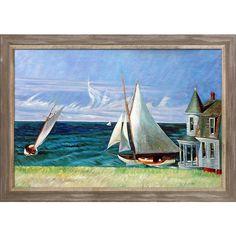 La Pastiche Edward Hopper 'The Lee Shore' 1941 Hand Painted Framed Art