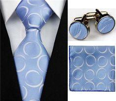 Silk Tie Hanky Cufflinks Necktie Set