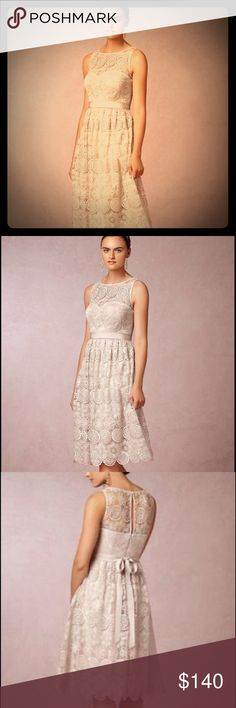 Bhldn champagne wedding/ rehearsal dress A chic silhouette crafted from champagne pinwheel lace, this knee skimming, sweetheart bodiced dress is an elegant option for a laidback bride. BHLDN Dresses Wedding