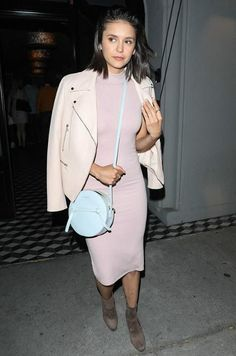 Nina Dobrev wearing Donatienne Amy Bag, Atm Anthony Thomas Melillo Rib Jersey Dress and Windsor Smith Granite Boots in Mocha