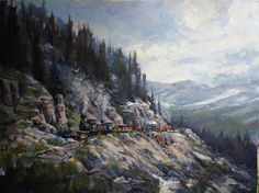 Along the Alpine railroad 30x40 oil on canvas.