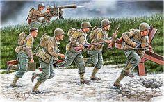 Move, Move, Move!!! Soldados estadounidenses durante la operacion Overlord, junio de 1944. Son Ranger armados con una Thompson M1928A1, Carabina M1 y ametralladora M1917A1. Andrey Karashchuk. Más en www.elgrancapitan.org/foro/
