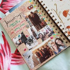 January memory page by zopoloko_creations on Instagram using Little Deer Studio dot grid journal