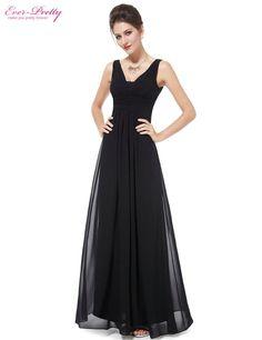 Deep Black V Neck Maxi Vestidos Longo Evening Wedding Party Bridesmaid Dress