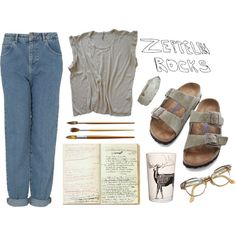 Art hoe aesthetic by petprouvaire on Polyvore featuring Topshop, Birkenstock and Samantha J Lowe