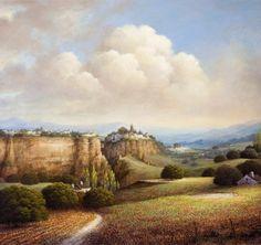 by Luis Romero Urban Landscape, Landscape Art, Pintura Exterior, Spanish Painters, Call Art, Box Art, Beautiful Landscapes, Art Images, Monument Valley