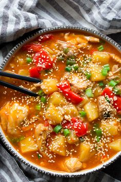 This Paleo and Whole30 Sweet and Sour Chicken is made in the Instant Pot so it's fast, easy, and a great meal for weeknights! Family (and kid!) approved, made with real-food ingredients and ready in 30 minutes.