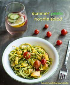 Vegan Summer Pesto Noodle Salad | Healthy Nibbles and Bits
