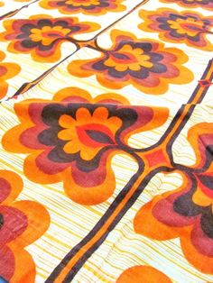 Vintage 70s Material Fabric Retro Design Orange Brown Yellow