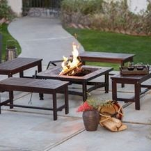 wood bench by a square fire pit - Google Search