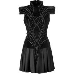 MAXIME SIMOENS Black Strong-Shouldered Velvet-Satin Dress ($1,570) ❤ liked on Polyvore