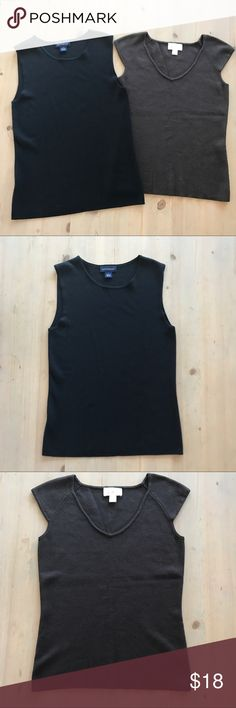 Ann Taylor two basics tank tops black brown Build your wardrobe! Must have staples. Classic pieces from Ann Taylor. Ann Taylor Tops Tank Tops