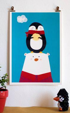 Penguin and Polar Bear Illustration Friendship by paolamezzaroma