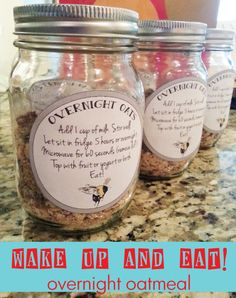 Overnight oatmeal including a download to print out labels. Makes a great gift!