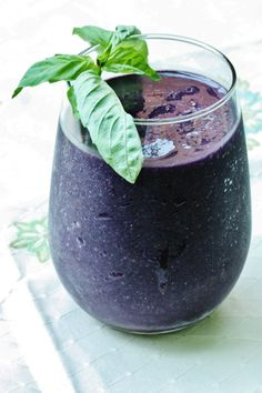 Blackerry and Basil Smoothie (raw, vegan, gluten and soy free)    Makes 1 large or 2 mini portions    1 cup blackberries   1 medium or large frozen banana   1 scant cup almond milk   1/2 tsp vanilla extract   1 small handful basil leaves, washed    Blend all ingredients together till smooth and creamy. Serve with a sprig of basil