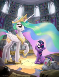 Princess Celestia and Filly Twilight