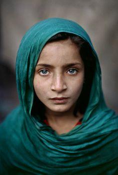 Girl wearing a teal scarf - Peshawar, Pakistan, 2002