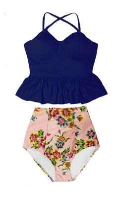 3c706b0741dc5 Handmade Tankini Swimsuit Swimwear Bathing suit Bikini set Two piece : Navy  Blue Underwire Long Peplum Top and Pink Gold Flora Floral High Hi waisted  waist ...