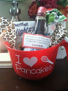 Pancake gift basket for neighbors - dollar tree bowl, mix, syrup & vinyl!