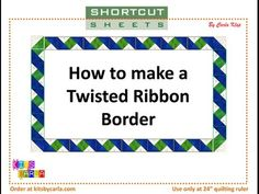 Make a Twisted Ribbon Border using QST& ( Quarter Square Triangles) Fast, Easy and Accurate technique to make a beautiful twisted ribbon border. Quilting Rulers, Quilt Binding, Quilting Tips, Quilting Tutorials, Quilting Designs, Machine Quilting, Sewing Tutorials, Sewing Projects, Quilt Block Patterns