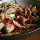 penne pasta with sun dried tomatoes - not oil packed, you rehydrate in chicken broth so it's not as calorie dense!