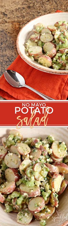 No Mayo Potato Salad is a lighter rendition of the classic. Serve at any cookout this summer and expect compliments on this surprisingly creamy side dish. via @speckledpalate
