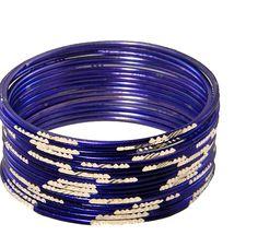 Krisklank Indian Bangles Blue Silver