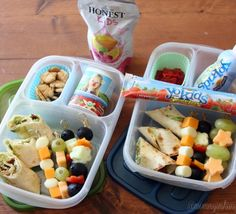 My Rock the Lunchbox for my kiddos include Annie's Homegrown Fruit Snacks, Graham Cookies, Organic Valley Stringles, Stonyfield Farm YoKids Smoothie, squeezer and yogurt cup (either one for snack time) and an Honest Kids Berry Berry Good Lemonade. I also added in Bacon & Avocado Cream Cheese Tortilla Rollups, fruit (melon and grapes), cheese (cheddar and mozzarella) and veggie (olives, cucumber and bell pepper) kabobs.  My kids loved this lunchbox idea! It includes their favorite foods ...