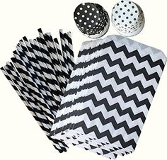 Black Chevron Treat/Favor Bags, Black Straws, Polka Dot Nut/Candy Cups- Black and White Party Good Combo Pack -24 Pack
