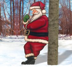 Leaning Santa Woodcrafting Pattern This relaxing Santa will be a real eye catcher leaning against your house or tree! #diy #woodcraftpatterns