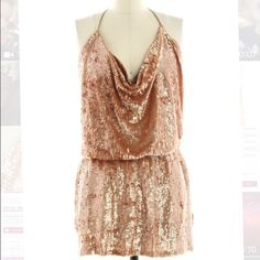 Haute hippie halter sequin dress Nwt haute hippie gold sequin dress cowl neck stretchy so can fit a small or medium! Please feel free to make a reasonable offer! Never worn! Haute Hippie Dresses Mini