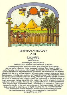Egyptian Horoscope for Geb. Character Traits, Hidden Talents for Men and Women by Date of Birth: Legacy of the Patron Deity in Ancient Astrology. Egyptian Mythology, Egyptian Symbols, Ancient Egyptian Art, Ancient History, Astrology Numerology, Astrology Zodiac, Zodiac Signs, Chinese Astrology, Signo Libra