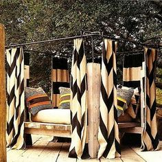 Possible idea for Emily's bed: Solid exterior fabric in olive or steel blue, then a chevron or bold geometric in the interior. This will give the interior a separate identity. Zebra print incorperated with the white canopy then bedspread cheeta?! or yikes?!