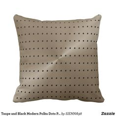 Taupe and Black Modern Polka Dots Pattern