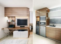 The creative, simple design manages to fit a kitchen, workspace, and even a dining area in a very small space.