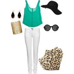 Turquoise, White, Leopard, Black, Gold Outfit