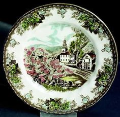 "These are the dishes that my mother had in her china cabinate. She died when i was 9..........Johnson Bros. ""Friendly Village"" Transfer ware"